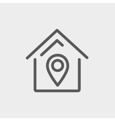 Location of the house thin line icon vector image