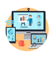 Online seminar distance work webinar vector