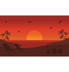 Orange backgrounds silhouette beach at summer vector image vector image