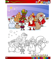 santa claus group coloring page vector image vector image