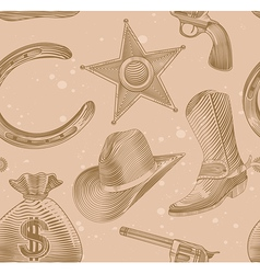Seamless cowboy pattern in engraving style - vector