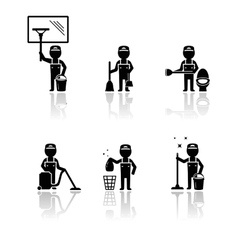 set isolated cleaner man vector image