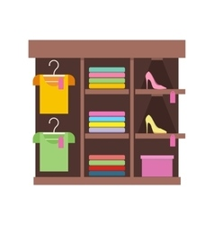 Shelves with clothes in shop vector