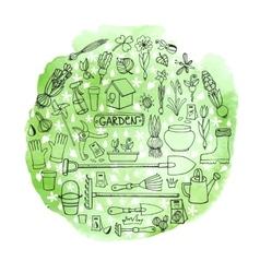 Spring garden doodles in circleWatercolor greeen vector image vector image