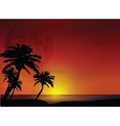 sunset landscape vector image vector image