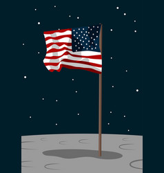 Usa flag on the moon surface vector