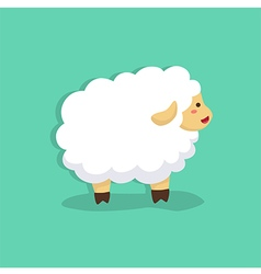 Cute sheep in tosca green background vector
