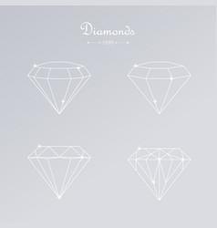 diamond thin line elements vector image