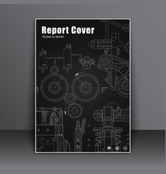 template covers black with drawings of parts and vector image