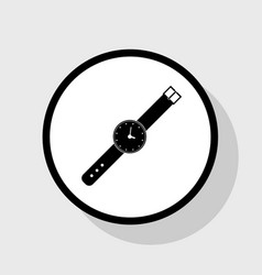 Watch sign   flat black icon vector