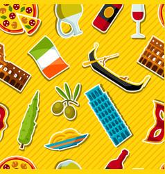 Italy seamless pattern italian sticker symbols vector