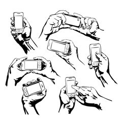 Set hands holding the smart phone vector