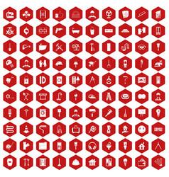 100 renovation icons hexagon red vector