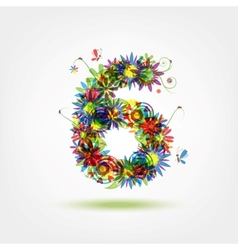 Six floral number for your design vector image