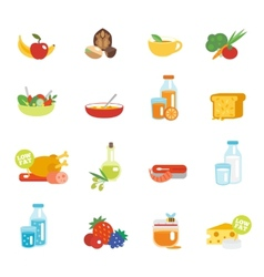Healthy eating flat icons vector