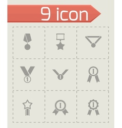 Black award medal icon set vector