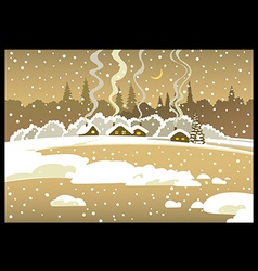 Evening winter landscape vector