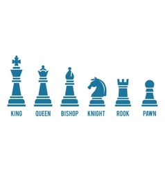 Named chess piece icons vector