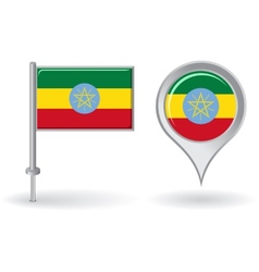 Ethiopian pin icon and map pointer flag vector