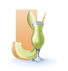 Honey melon goblet of juice cocktail smoothie vector