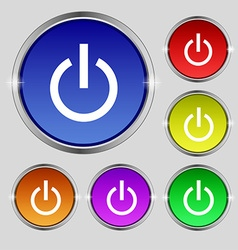 Power icon sign round symbol on bright colourful vector