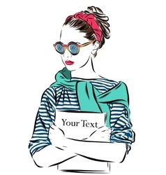 Beautiful woman in sunglasses with journal vector