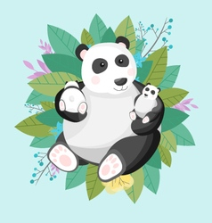 A cute panda family flat design vector