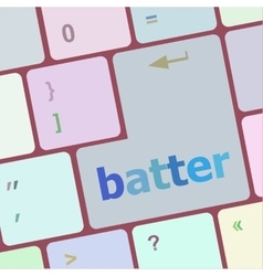 Batter word on keyboard key notebook computer vector