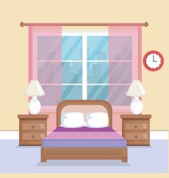 Bed room scene icon vector