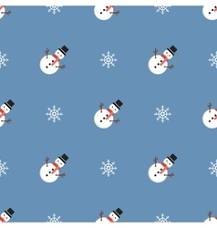Christmas pattern with snowmen and snowflakes vector image vector image