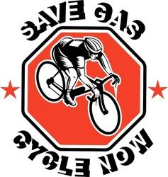 Cyclist racing bike set inside octagon vector image vector image