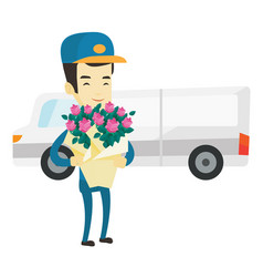 Delivery courier holding bouquet of flowers vector