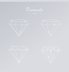 diamond thin line elements vector image