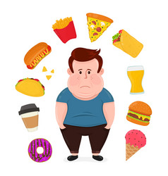 Fat sad young man surrounded by unhealthy vector