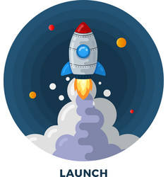 Flat Style Cartoon Rocket Launch in Space vector image