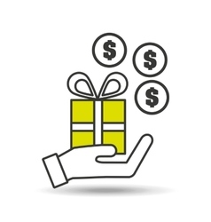 hand holding gift money coin icon vector image