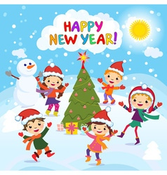 Happy New Year 2017 Winter fun Cheerful kids vector image