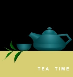 Invitation card with teapot cup and tea branch vector image vector image