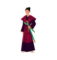 Japanese samurai warrior in traditional kimono vector