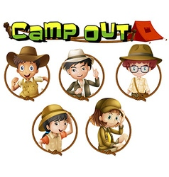 Kids in safari outfit on round badges vector image vector image