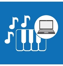 Laptop music technology keyboard vector