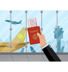 Man with passport and ticket inside of airport vector image