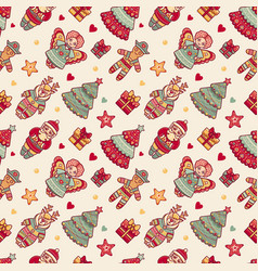Merry christmas pattern with christmas toys vector