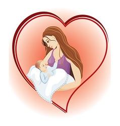 Mother cuddling her baby vector