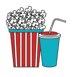Pop corn with soda cinema food vector