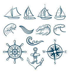 sailing sport icons set vector image vector image