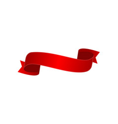 satin red curved ribbon isolated icon vector image