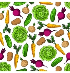 Seamless healthy farm vegetables pattern vector