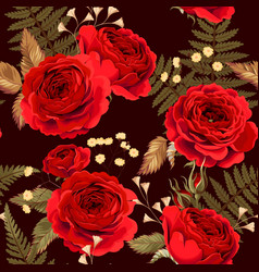 Seamless pattern with red roses vector