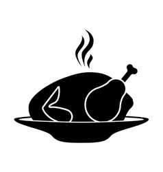 Silhouette monochrome dish with hot chicken roast vector